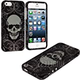 "myLife (TM) Black + White Elegant Skull Series (2 Piece Snap On) Hardshell Plates Case for the iPhone 5/5S (5G) 5th Generation Touch Phone (Clip Fitted Front and Back Solid Cover Case + Rubberized Tough Armor Skin + Lifetime Warranty + Sealed Inside myLife Authorized Packaging) ""ADDITIONAL DETAILS: This two piece clip together case has a gloss surface and smooth texture that maximizes the sty at Amazon.com"