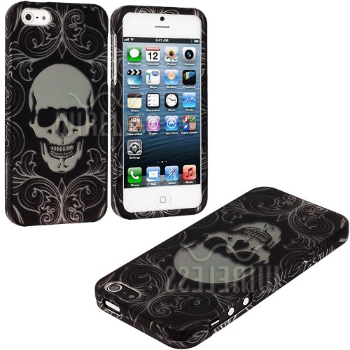 Mylife (Tm) Black + White Elegant Skull Series (2 Piece Snap On) Hardshell Plates Case For The Iphone 5/5S (5G) 5Th Generation Touch Phone (Clip Fitted Front And Back Solid Cover Case + Rubberized Tough Armor Skin + Lifetime Warranty + Sealed Inside Mylif