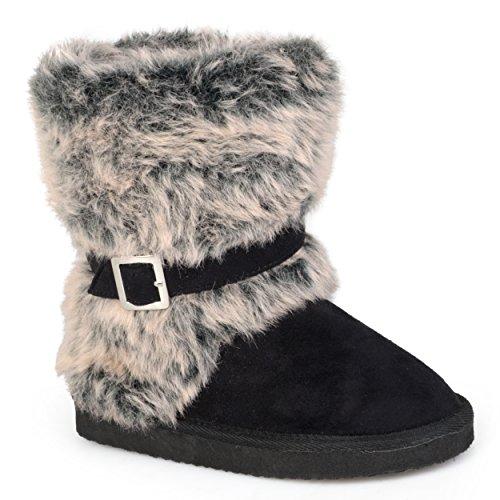 Journee Kids Girls Buckle-Strap Faux Fur Boots