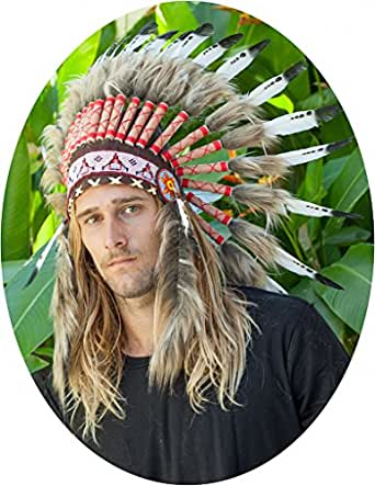 "Choose color - 24"" Indian Headdress - Native American Headdress - Real Feathers"