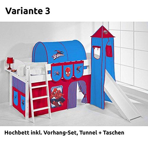 Hochbett Spielbett IDA Spiderman, mit Turm, Rutsche und Vorhang, weiß, Variante 3 jetzt kaufen