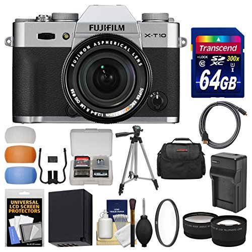 Fujifilm X-T10 Digital Camera & 18-55mm XF Lens (Silver) with 64GB Card + Case + Battery & Charger + Tripod + Tele/Wide Lens Kit