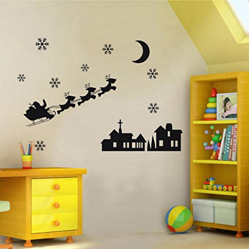 SMTSMT Snowman Snowflake Decoration Decal Window Stickers (Black)