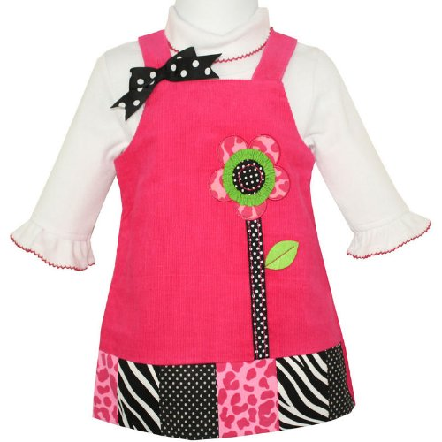 Rare Editions Baby Girls Hot Pink Corduroy Pinafore Jumper Dress with Applique Flower & White Long Sleeved Bodysuit Two Piece Set (size 9months)