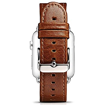 Apple Watch Leather Band, Icarercase Vintage Series Genuine Leather Watchband Strap Replacement iWatch Wristband Link Bracelet with Secure Metal Clasp Buckle for Apple Watch (Coffee for 42mm)