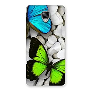 Ajay Enterprises Elite Butterflies Green Blue Back Case Cover for OnePlus 3
