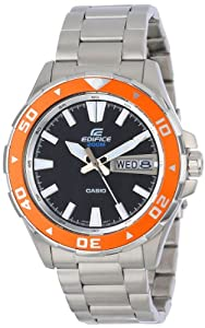 Casio Men's EFM100D-1A4V Edifice Stainless Steel Bracelet and Orange Accent Bezel Analog Watch