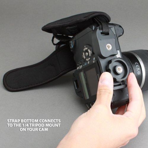 USA Gear DualGRIP Stabilizing Digital SLR Camera Hand Strap Grip for Nikon D7100 , D5200 , D5100 , D600 , D800 , D7000 , D3100 & More DSLR Cameras - Includes Cleaning Kit