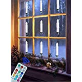 Window Candle Remote Control Timer - Battery Operated Christmas Tree Decoration 12-Color Flickering Unscented Ivory Flameless Taper Light - Votive Tealight Gift Party Wedding - Many Use with Widgets