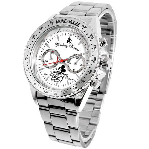 Disney Disney レトロミッキー rotating bezel watch White x silver chronograph silver [parallel import goods]