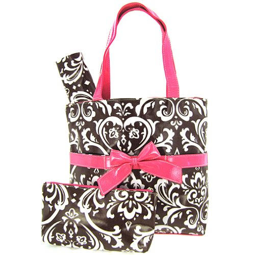 Damask Print Laminated Diaper Bag Tote Purse 3 Piece Set (Hot Pink/Brown)