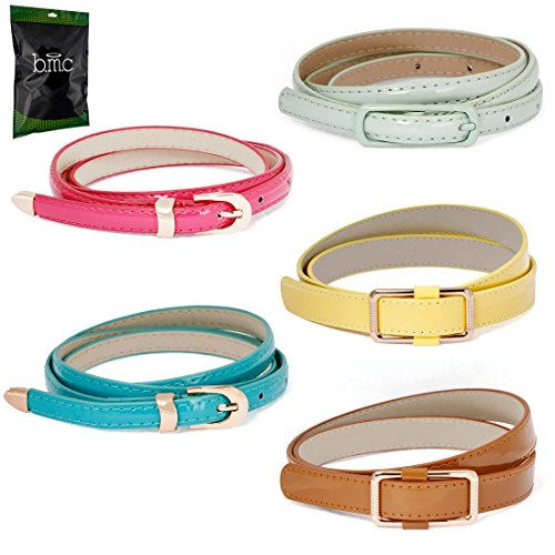 BMC Womens 5pc Mix Color Faux Leather Fashion Statement Skinny Belts Bundle-Set 4, Bright and Beautiful