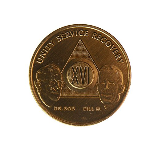16 Year Bill & Bob Founders Edition Bronze AA (Alcoholics Anonymous) - Sober / Sobriety - Birthday - Anniversary Recovery Medallion / Coin / Chip - 1