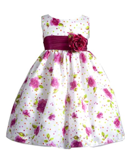 Lola Rose And Polka Dot Print Flower Girl Dress With Sash For Infants Fancy Dress Color: Fuchsia Dress Size: 6M-9M (6-9 Months) front-693568