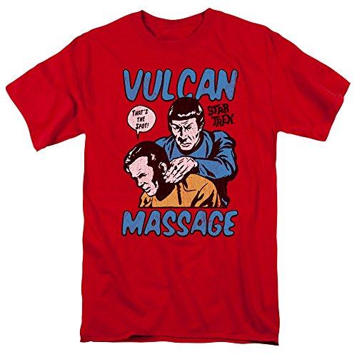 Star Trek Massage Mens Short Sleeve Shirt Red SM