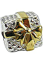 Zable Sterling Silver and Yellow Color Plated Ribbon Gift Box Bead