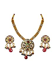 Surat Diamonds Ethnic Round Shaped Red, Green & White Stones & Gold Plated Pendant Necklace & Earring Set With...
