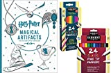 Harry Potter Magical Artifacts Coloring Book, Sargent Art 24 Colored Pencils & 24 Fine Tip Markers Gift Set - Color Your Favorite Magical Hogwarts Scenes with this Art Kit For All Ages