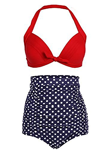 Baddi Retro Red Leopard Polka Floral Print High Waist Bikini Swimsuits (XX-Large)