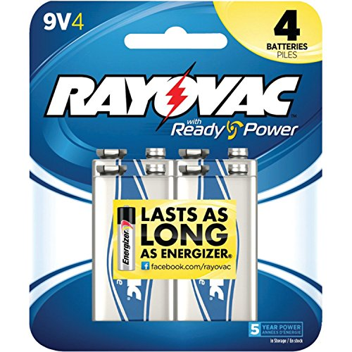 Rayovac Alkaline 9V Batteries, 4-Pack (A1604-4C)