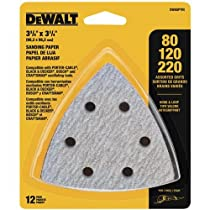 DEWALT DWASPTRI Hook and Loop Triangle Sandpaper Assorted, 12-Pack