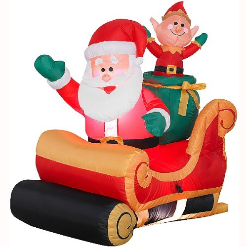 3.5 Ft. - Gemmy Christmas Airblown Inflatable - Santa Sleigh with Elf