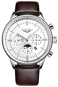 Gosasa Mens Quartz Watches Stainless steel Case with Brown Leather Strap, White Dial, Month, Week, Date, Moon Phase