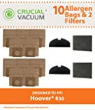 10 Hoover R30 Bags & 4 Filters, Fits Hoover S1361 Portable Canister Cleaner, Compare to Part # 40101002, Designed & Engineered by Crucial Vacuum