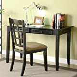 2pc Home Office Writing Desk and Chair in Black Finish