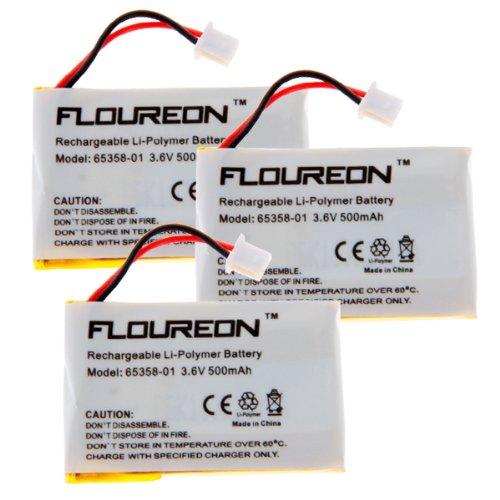 Floureon 3-Pack Battery 65358-01 500Mah For Plantronics Cs50 Cs55 Cs60 Wireless Headset