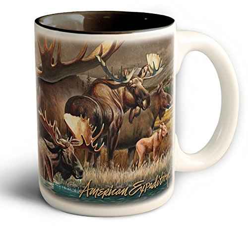 Wildlife Collage Series 15Oz Stoneware Coffee Mugs (Bull Moose)