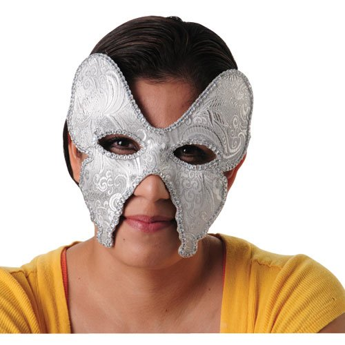 One Embroidered Venetian Mardi Gras Style Silver Butterfly Theme Mask - 1