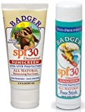 Badger SPF 30 Sunscreen and Face Stick Combo Pack