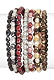 7 Piece Fall Tones Fresh Water Pearl Stretch Bracelet Set, 7.5