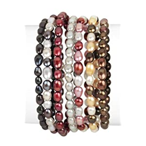 7 Piece Fall Tones Freshwater Pearl Stretch Bracelet Set, 7.5""