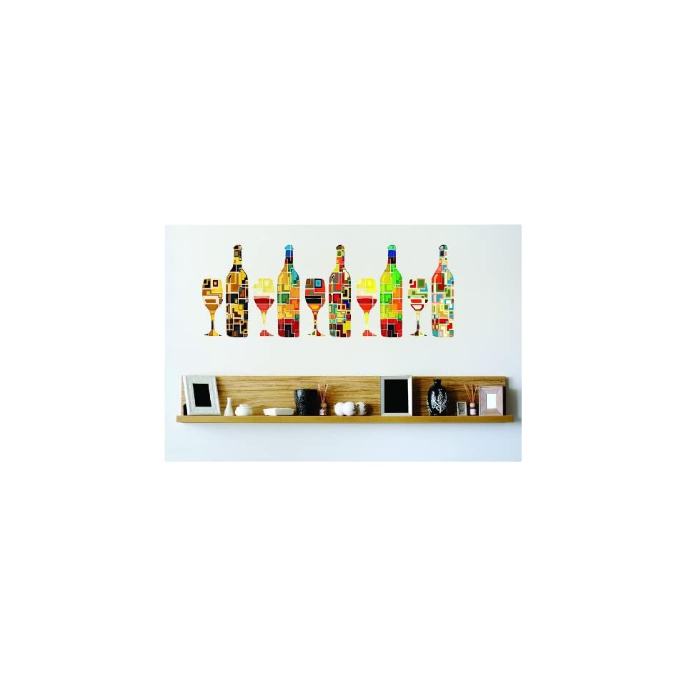 Wine Glasses Bottles Colorful Kitchen Home Decor Picture Art Graphic Design Peel & Stick Sticker Mural Vinyl Wall   Best Selling Cling Transfer Decal Color 672 Size  8 Inches X 40 Inches   22 Colors Available