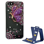 Kingmys Purple Angel Butterfly Bling Diamond Crystal Hard Case Cover for iPhone 5 5G