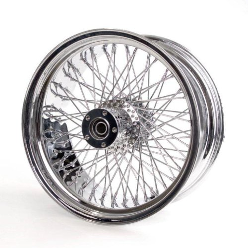 "Chrome Round 80 Spoke 18"" X 8.5"" Rear Wheel For Harley Wide Tire Custom Models"