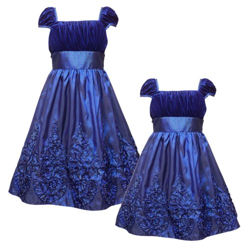 Size-5 RRE-50421H BLUE VELVET SOUTACHE BORDER Special Occasion Wedding Flower Girl Holiday Pageant Party Dress,H350421 Rare Editions LITTLE GIRLS