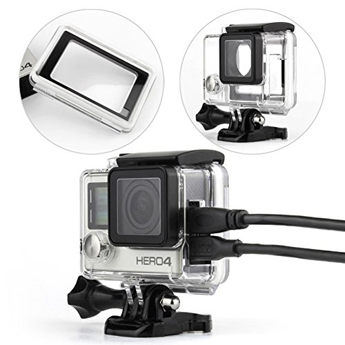 WiserElecton-Side-Open-Skeleton-Housing-compatible-with-GoPro-Hero4-Hero3-cameras-With-Bacpac-Touched-Panel-LCD-Screen-Protective-backdoor-and-lens