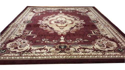 E521 French Aubusson Victorian Traditional Medallion Burgundy Red Hand Carved 5x8 Actual Size 5'3x7'2 P59.jpg