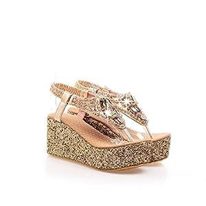 Velardeeee Glittering Beaded Bohemia Women Beach Sandals Rhinestone Flip Flops LadyDiamand Platform Wedge Shoes Gold14 B(M)US