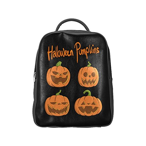[Navarro Halloween October 31 Jack O Lantern Unisex School High-grade PU Leather Backpack Bag Shoulder] (Lock Shock And Barrel Costumes From Nightmare Before Christmas)