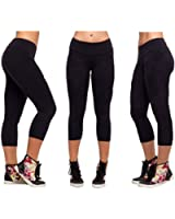 Sports Yoga Stretch Short Leggings Under Knee Tights Skinny Spandex Pants S-Xl