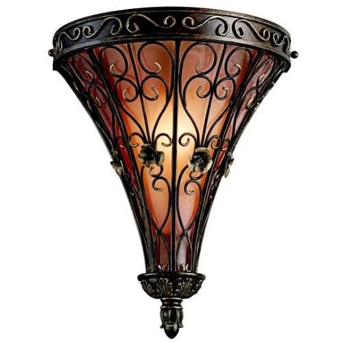 Kichler Lighting 45131Trz Marchesa 1-Light Wall Sconce, Terrene Bronze With Piastra Glass