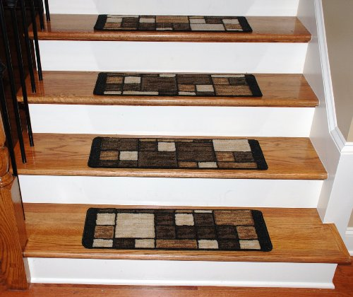 Washable Carpet Stair Treads - Hop Scotch Chocolate