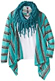 Beautees Big Girls Striped Flyaway Cardi with Scarf and Tank Top