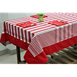 AURAVE Red Check Eight Seater Cotton Table Cover With Napkins
