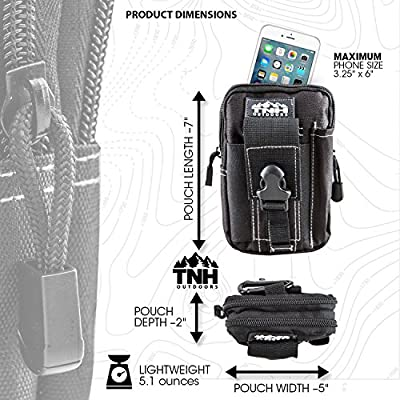 #1 Premium EDC Cell Phone Molle Waist Pouch by TNH Outdoors ✦ Small Hip Or Leg Gear Holster ✦ Tactical Gadget Mag or Ammo Holder Bag ✦