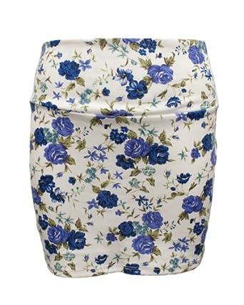 Ladies Blue White Rose Print Elastic Skirt